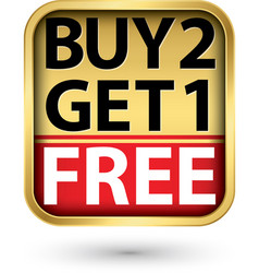 buy 2 get 1 free golden label with red ribbon vector image