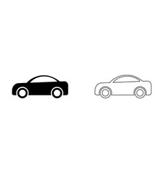 car side view outline set two black and white vector image
