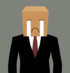 Cardboad businessman with a crying face vector