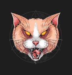 Cat angry rage face artwork vector