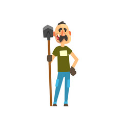 cheerful male farmer character with shovel vector image