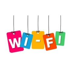Colorful hanging cardboard tags - wi-fi vector