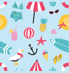 Colorful summer seamless pattern with hand drawn vector