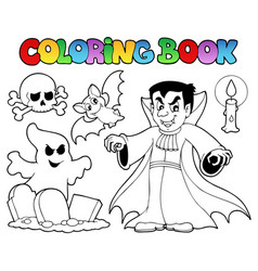 coloring book halloween topic 5 vector image