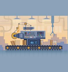 Conveyor belt factory production line cartoon vector