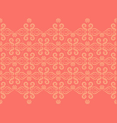 coral and yellow baroque style damask border vector image