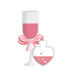 cup champagne and fragrance with heart bottle vector image