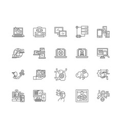 digital tech services line icons signs vector image