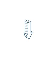 Down arrow isometric icon 3d line art technical vector