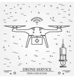 Drone service Drone medical service Thin line icon vector image