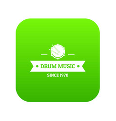 drum music icon green vector image