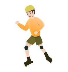 Dynamic kid move inline skates icon cartoon style vector