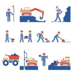 Earthwork and Road Construction Icons vector image