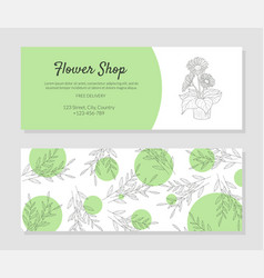 Elegant flower shop business card templates vector
