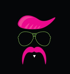 face with mustache pink vector image