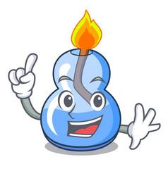 Finger alcohol burner mascot cartoon vector