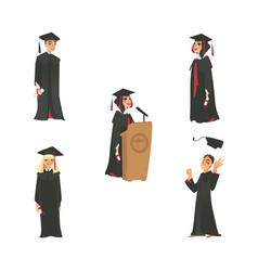 Flat boy girl graduates set vector