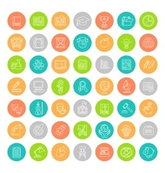 Flat Line Colorful Round School Subjects Education vector