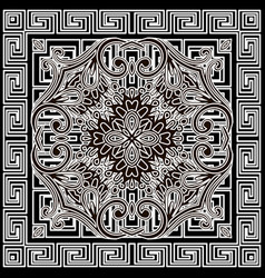 Floral pattern with greek square frame vector