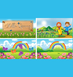 Four background scenes with children and animals vector