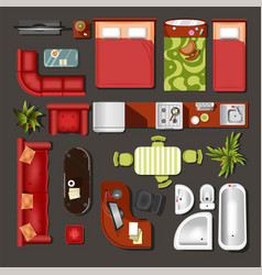 furniture top view house interior elements and vector image