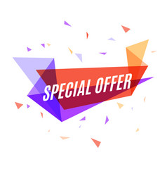 Geometrical colorful banner special offer speech vector
