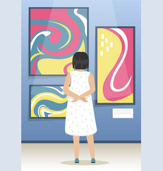 Girl looks paintings modern abstract vector