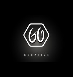 go g o brushed letter logo design with creative vector image