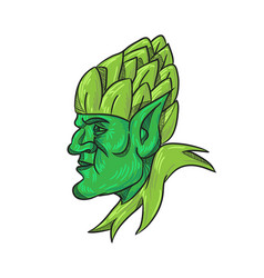 Green elf wearing hops on head drawing vector