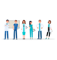 Group of doctors in uniform standing and smiling vector