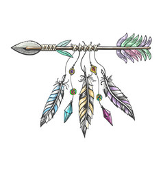 hand drawn arrow with feathers tribal tattoo vector image