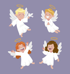 Hand drawn christmas angel collection vector