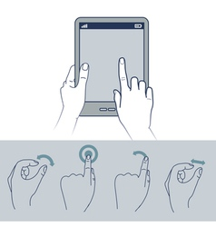 hand icons - touchscreen interface vector image