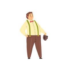 Handsome overweight man wearing pants vector