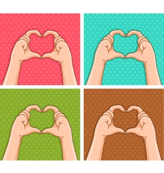 handy hearts vector image