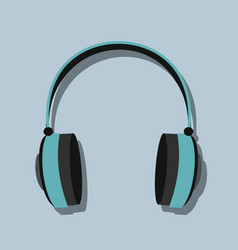 Headphones in flat style with shadow vector