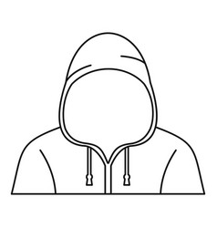 hooded man icon outline style vector image