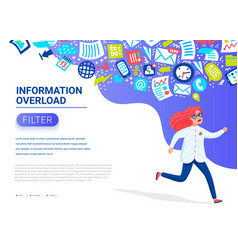 Information overload concept young women running vector
