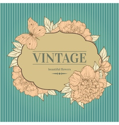 intage background with peony and butterfly vector image