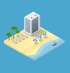 isometric 3d hotel with a beach vector image