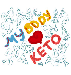 Keto diet hand drawn lettering low carb diet vector