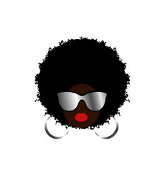 Kinky curly afro hair african woman sunglasses vector