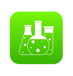 laboratory flasks icon digital green vector image
