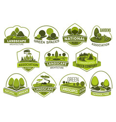 landscape park and garden design icons vector image