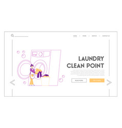 launderette washing cleaning service landing page vector image