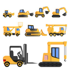lifting machine icon set cartoon style vector image