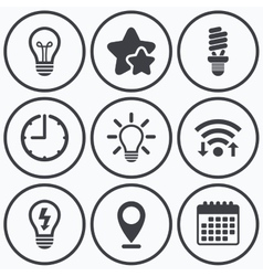 Light lamp icons Energy saving symbols vector image