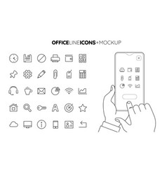 Line office icon set with line hands holding vector