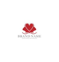 Logo design hand and heart vector