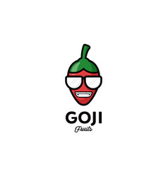 logo for goji berry fruits funny cartoon and cool vector image